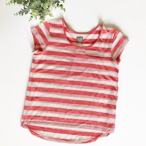 Converse One Star Mesh Striped Coral T Shirt Small